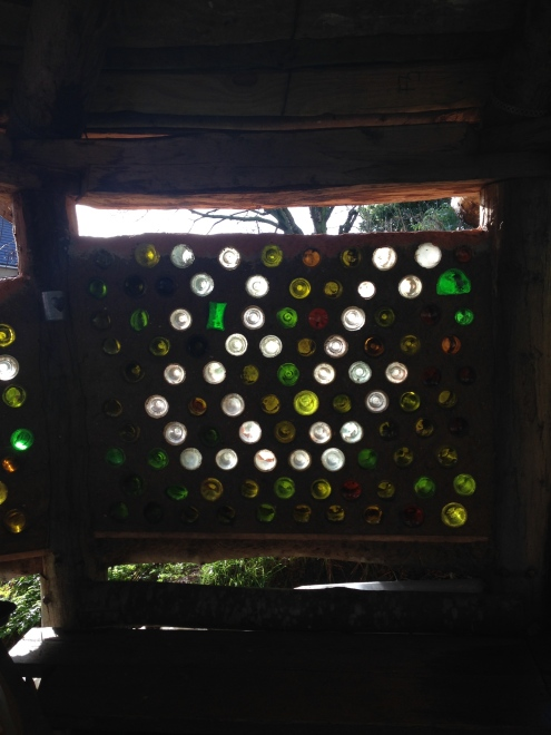 Wall made of glass bottles